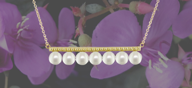 Yellow gold freshwater pearl bar jewellery