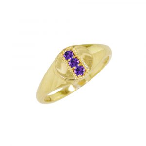 Yellow gold amethyst February birthstone signet ring