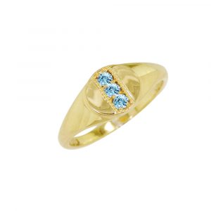 Yellow gold aquamarine March birthstone signet ring