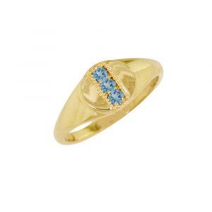 Yellow gold blue topaz birthstone signet ring