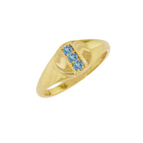 Blue topaz November birthstone ring