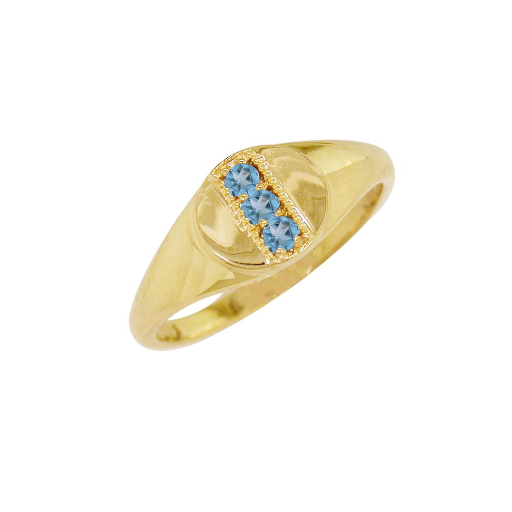 Blue topaz November birthstone ring