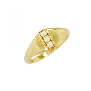 Yellow gold pearl June birthstone signet ring