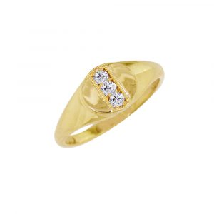 Yellow gold diamond birthstone signet ring