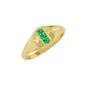 Yellow gold emerald May birthstone signet ring