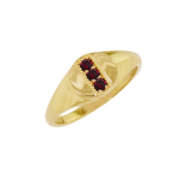 Yellow gold garnet January birthstone signet ring