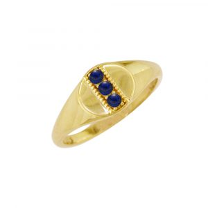 Yellow gold lapis birthstone signet ring