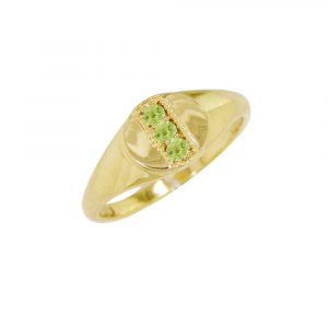 Yellow gold peridot August birthstone signet ring