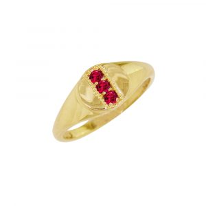 Yellow gold ruby July birthstone signet ring