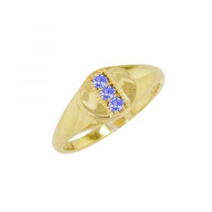 Yellow gold tanzanite birthstone signet ring