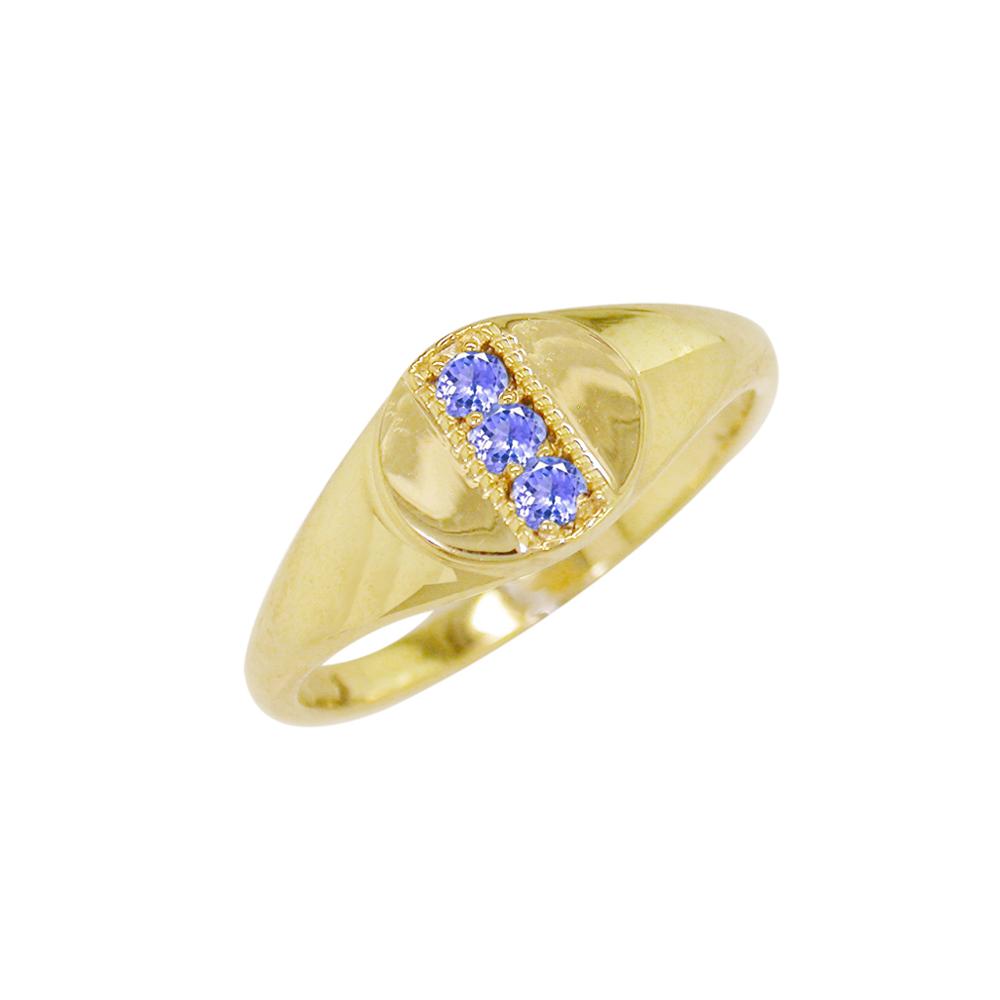 Yellow gold tanzanite December birthstone ring