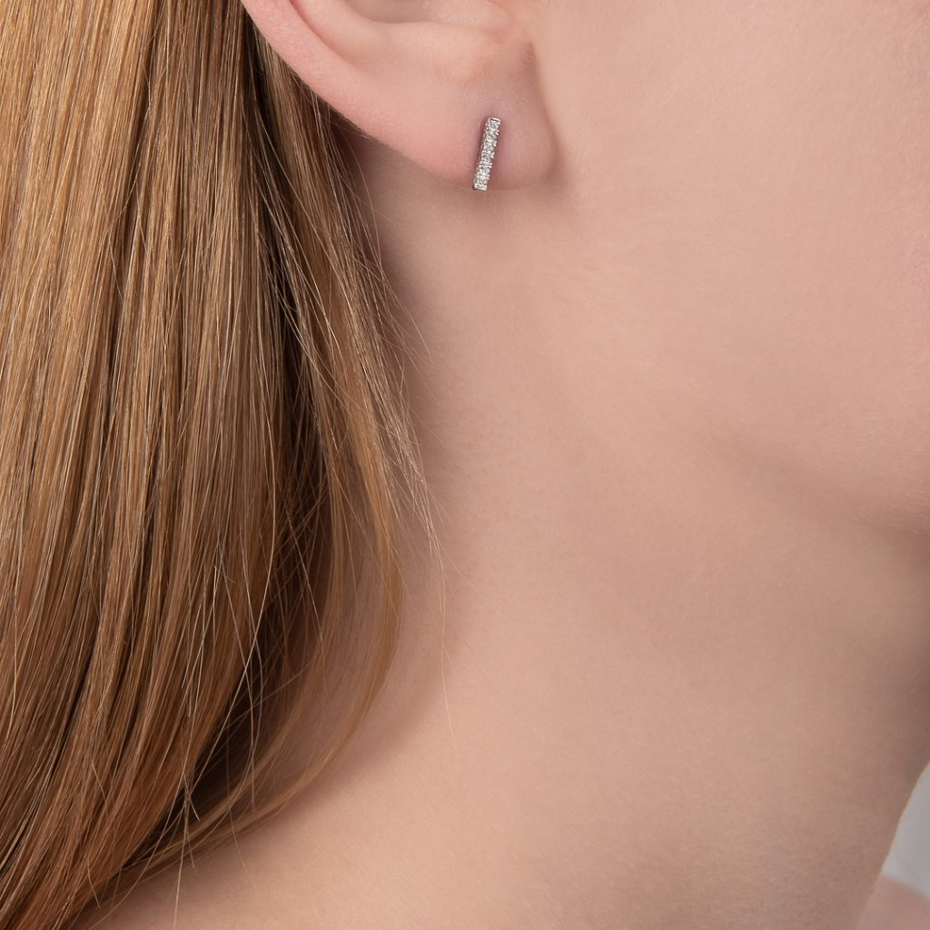 White gold diamond Geo stud earrings demi-fine jewellery
