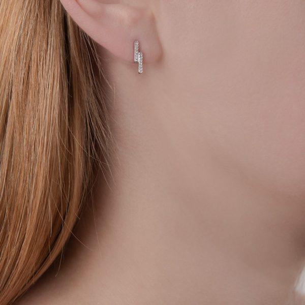 White gold diamond Geo stud earrings