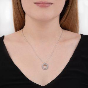 White gold diamond Meridian circlw pendant