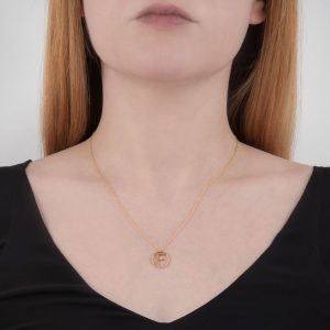 Yellow gold diamond initial F pendant