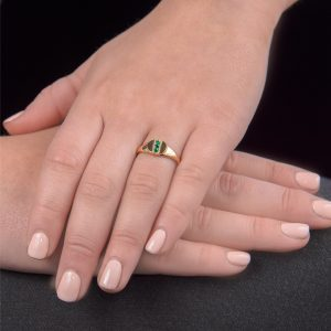 Yellow gold emerald birthstone signet ring