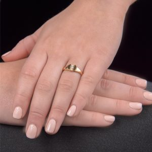 Yellow gold pearl birthstone signet ring