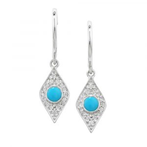White gold diamond turquoise drop Evil Eye earrings