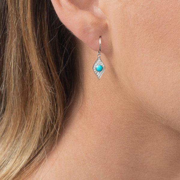 White gold diamond turquoise evil eye drop earrings