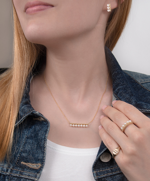 Yellow gold pearl demi-fine jewellery