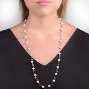Yellow gold cultured freshwater pearl necklace