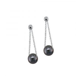 White gold grey pear;l drop earrings