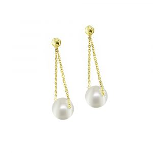 Stylish Yellow gold cultured freshwater pearl drop earrings