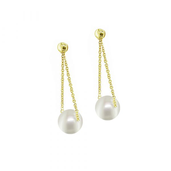 Stylish Yellow gold pearl drop earrings