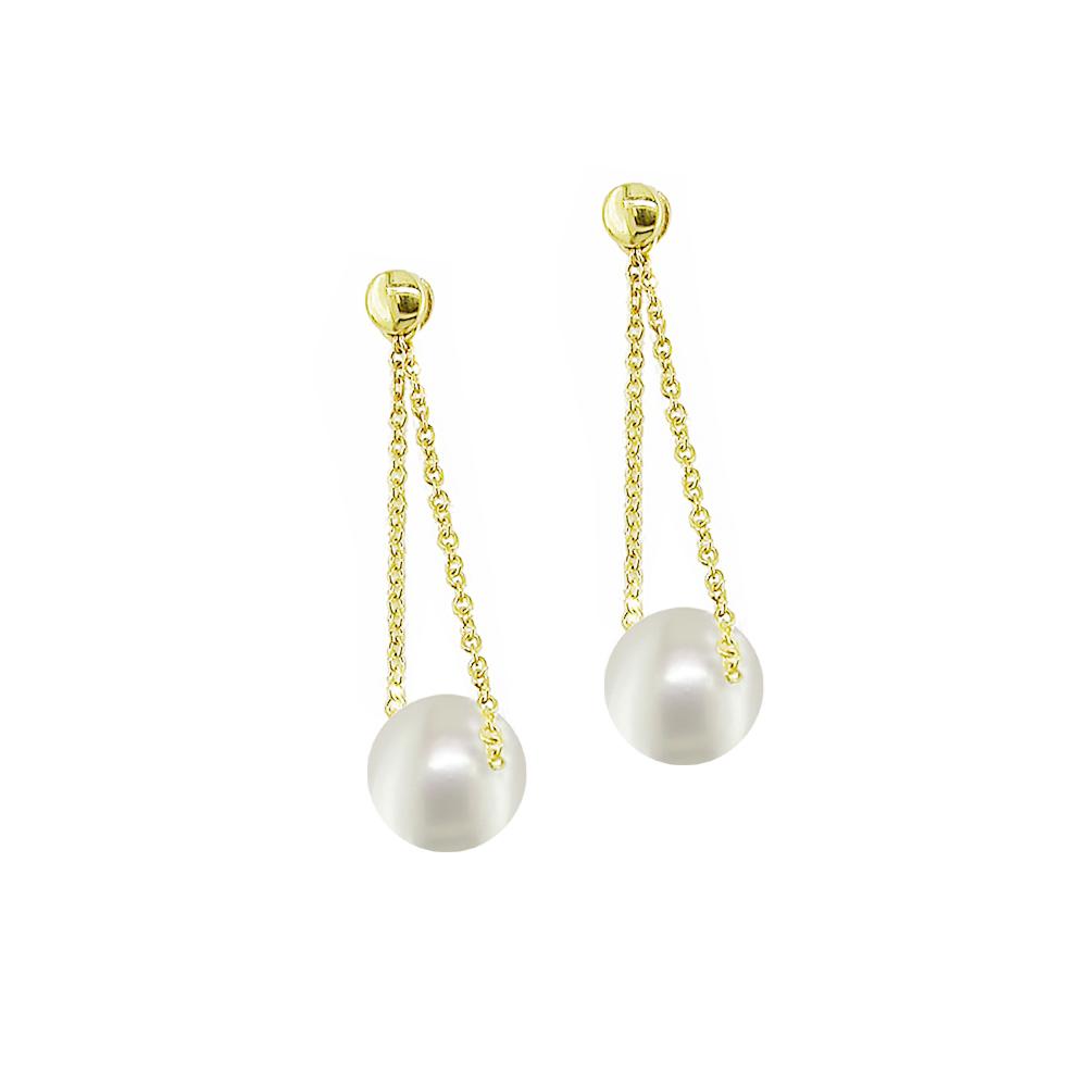 Stylish Yellow gold pearl drop earrings