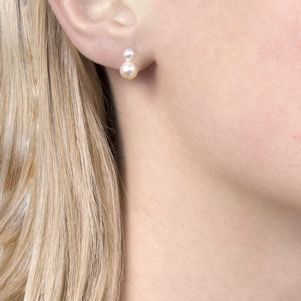 Yellow gold double pearl stud earrings