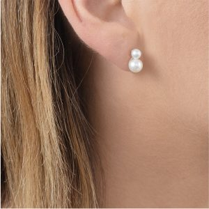 Yellow gold double pearl stud earrings