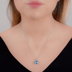 White gold blue topaz cushion pendant