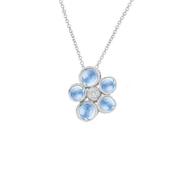 White gold blue topaz diamond cluster pendant