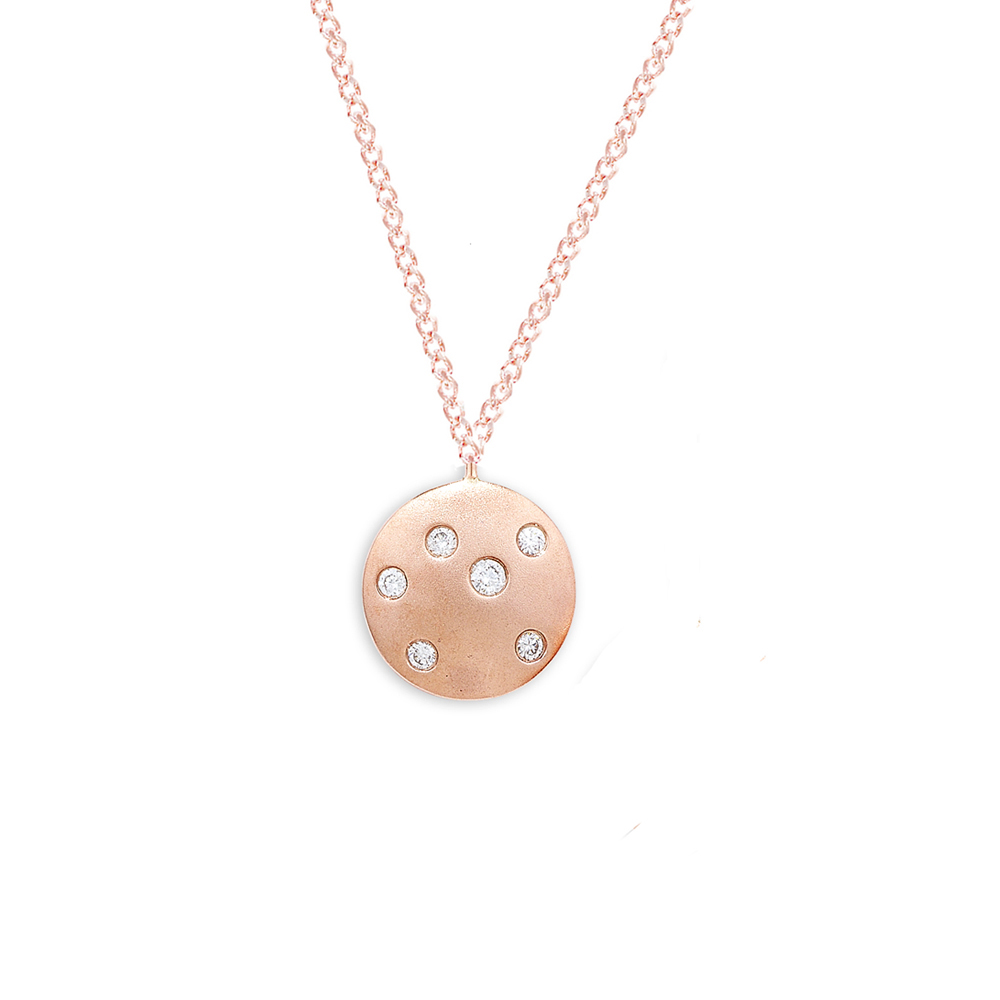 Rose gold necklace with circle pendant