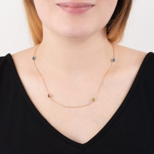 Rose gold multi gem Raindrop necklace