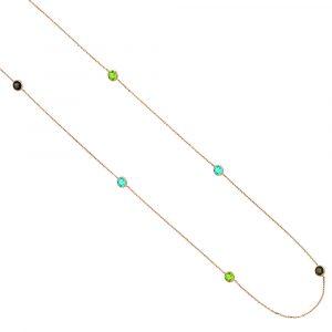 Raindrop rose gold multi gem necklace