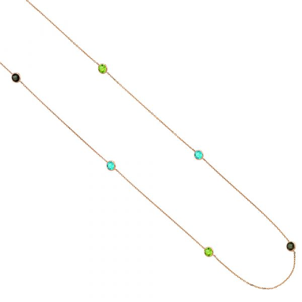 Raindrop multi-coloured rose gold gem necklace