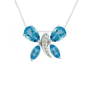 Blue topaz white gold butterfly necklace