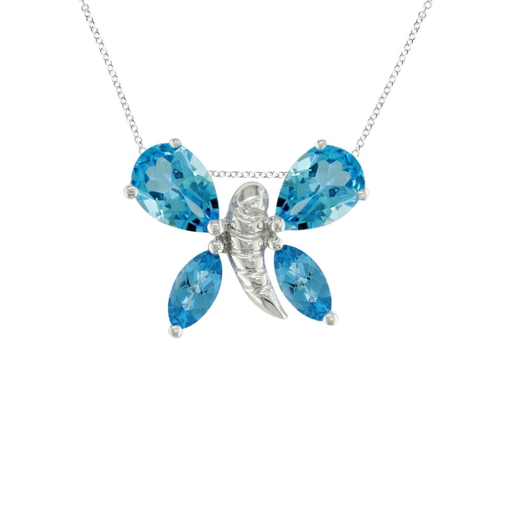 Blue topaz white gold butterfly necklace