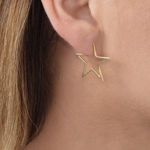 Yellow gold open star hoop earrings