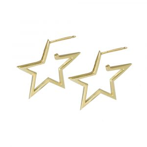 Yellow gold open frame star Starry Night hoop earrings