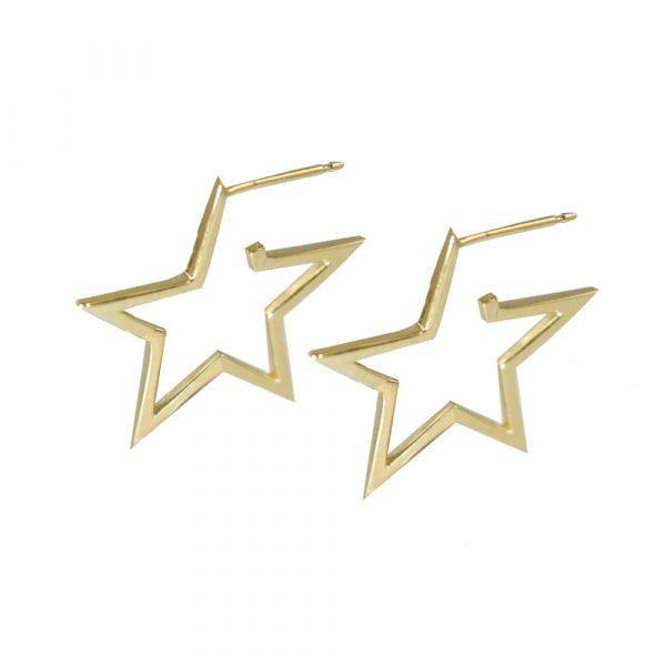 Yellow gold open frame star Starry Night hoop earrings
