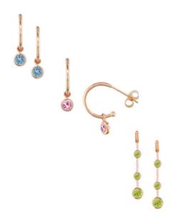 Pink tourmaline blue topaz peridot earrings