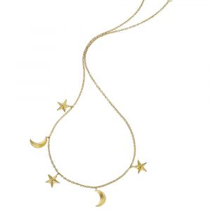Yellow gold 3D star moon Starry Night necklace