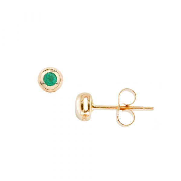 Yellow gold emerald solitaire stud earrings
