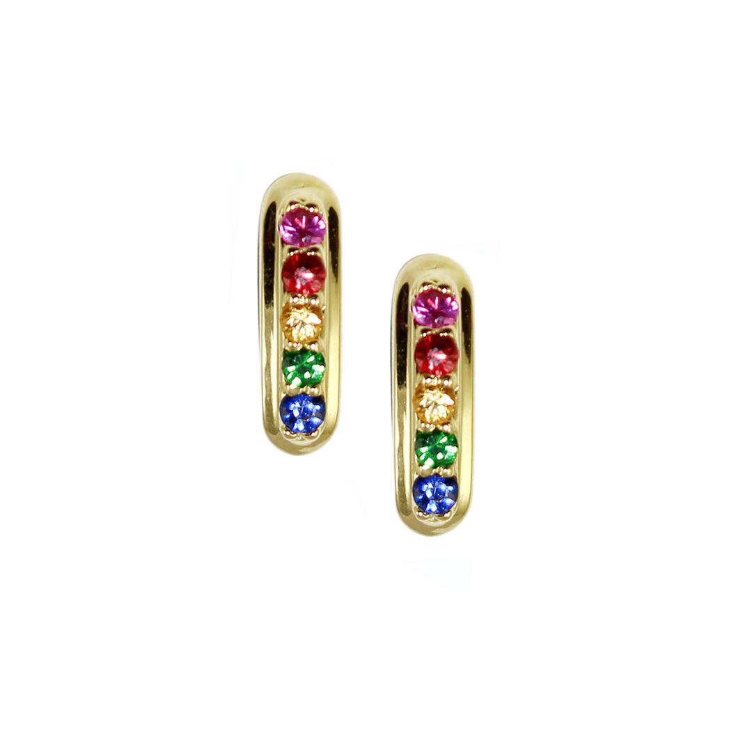 Yellow gold fancy sapphire Rainbow hoop earrings