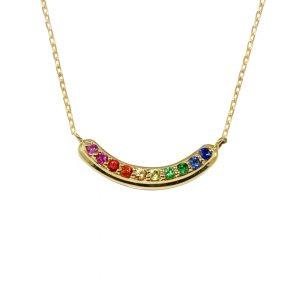 Yellow gold multi sapphire Rainbow necklace
