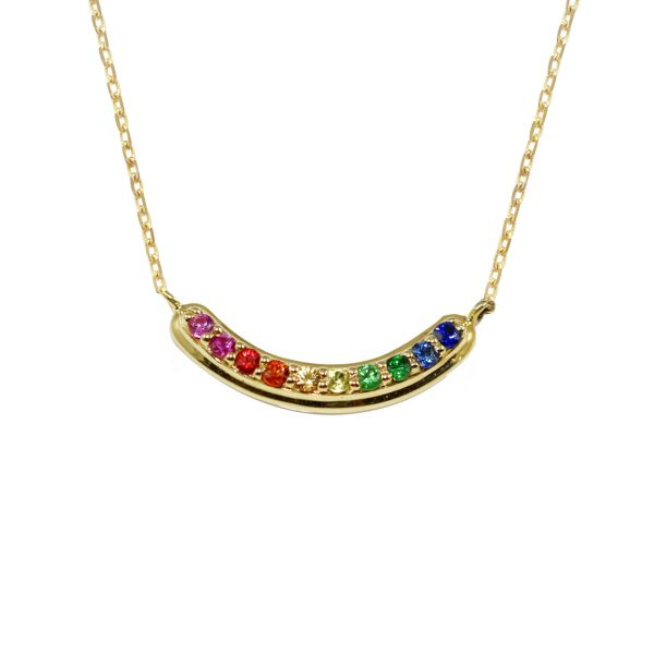 Yellow gold multi sapphire Rainbow necklace