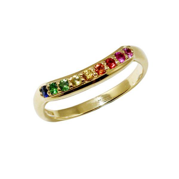 Yellow gold multi sapphire Rainbow ring
