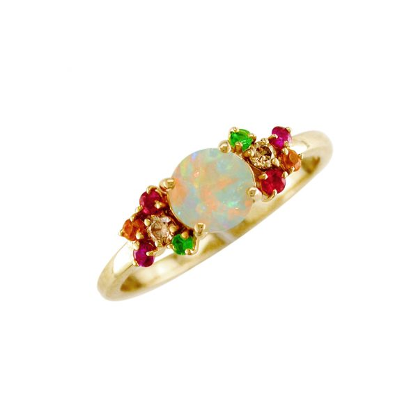 Cluster yellow gold opal multi gem Harlequin ring